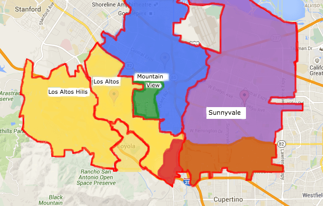 School districts in Los Altos, Mountain View and Sunnyvale